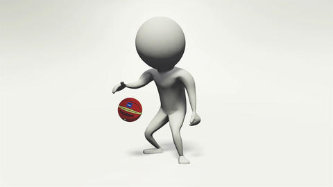 3D animation basket ball man Stock Video Footage