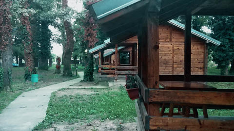 Village with wooden houses with terraces in autumn weather Footage