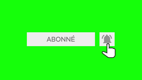 Mouse Clicking a Subscribe Button and Bell Notification with chroma key green background - French Animation