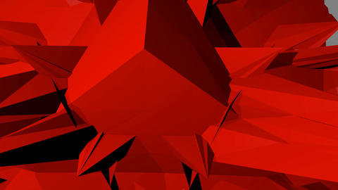 red abstract spatial object with spines hovering in space, rotation, zooming GIF