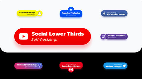 Lower Thirds Social Media Self Resizing Motion Graphics Template