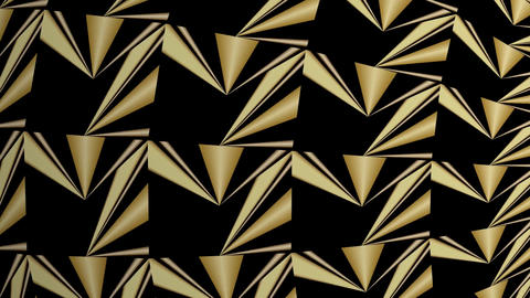 Abstract golden kaleidoscope relief patterns, triangle patterns moving on black Animation