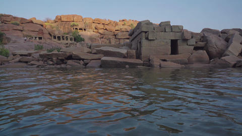 Hampi is an ancient village with ruined temple complexes... Stock Video Footage
