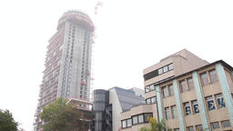 Urban Architecture with High Rise Tower Under Constrcution Footage
