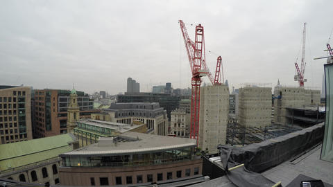 London City construction site overview 4K video Live Action