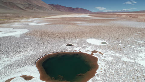 Aerial drone scene flying along white salar over blue lagoons, sea eyes. Desert landscape, mountains Footage
