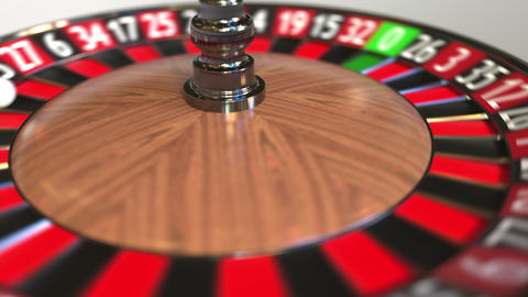 Casino roulette wheel ball hits 36 thirty-six red. 3D animation GIF