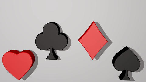 Playing card suit, animated 3d card pips, red heart, red diamond, black club Animation