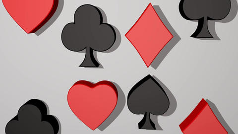 Playing card suit, animated 3d card pips, red heart, red... Stock Video Footage
