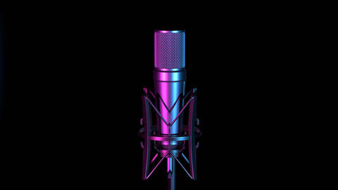 Professional microphone against changing colorful background Animation