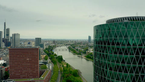 FRANKFURT AM MAIN, GERMANY - APRIL 29, 2019. Aerial view of the River Main in Live Action