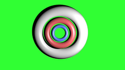 White torus, red torus and blue torus rotating around a common center in Animation
