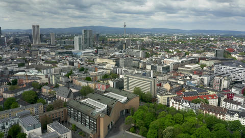 Frankfurt am Main cityscape, aerial view Footage
