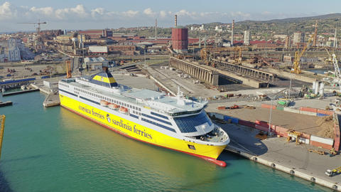 PIOMBINO, ITALY - JANUARY 2, 2019. Aerial shot of Corsica Ferries - Sardinia Live Action