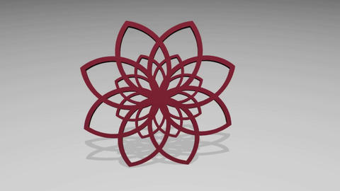 Abstract circle 3D red rosette on light gray background, geometric logotype Animation