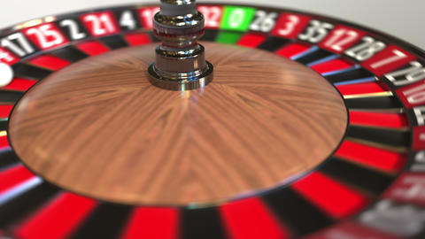 Casino roulette wheel ball hits 6 six black. 3D animation Footage