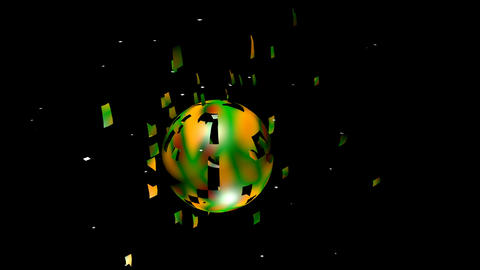 Color sphere crumbling and exploding on black background. Colorful ball in Animation