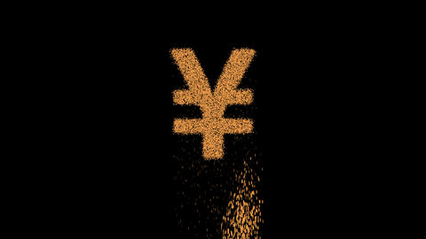 Symbol yen sign appears from crumbling sand. Then crumbles down. Alpha channel Premultiplied - Animation