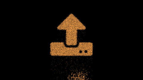 Symbol upload appears from crumbling sand. Then crumbles down. Alpha channel Premultiplied - Matted Animation