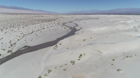 Aerial drone scene of dunes and sand desert with plants and the andes mountains on background. Footage