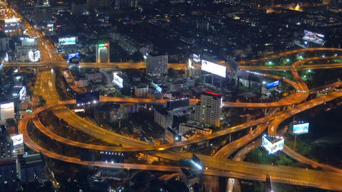 Aerial view on illuminated roads in Bangkok Footage