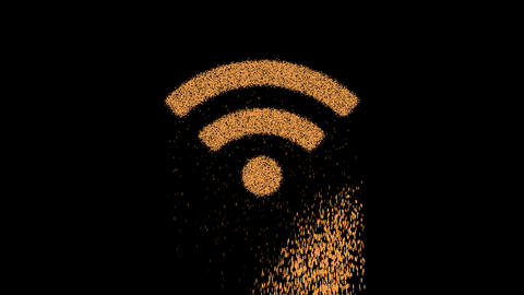 Symbol wifi appears from crumbling sand. Then crumbles down. Alpha channel Premultiplied - Matted Animation
