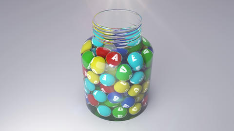 Colorful vitamins fall into the small bottle Animation