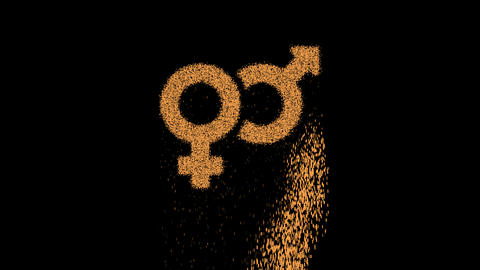 Symbol venus mars appears from crumbling sand. Then crumbles down. Alpha channel Premultiplied - Animation