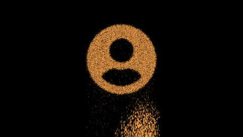 Symbol user circle appears from crumbling sand. Then crumbles down. Alpha channel Premultiplied - Animation