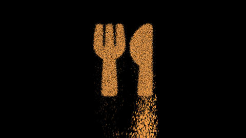 Symbol utensils appears from crumbling sand. Then crumbles down. Alpha channel Premultiplied - Animation