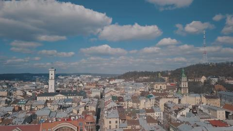 Aerial City Lviv, Ukraine. European City. Popular areas of the city. Rooftops Photo