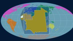 Mauritania (Mollweide). Continents Animation