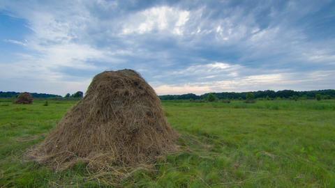 Haystack Under Sky Timelapse stock footage