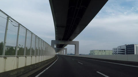 Yokohama of Japan. Road that runs the industrial zone/首都高速大黒線、 Footage