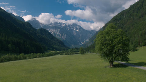 Aerial - Flyover Logar Valley, one of the most beautiful Alpine glacial valleys Live Action