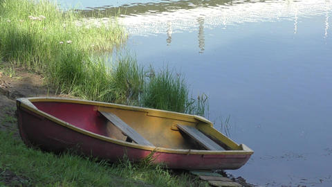 Boat On The Shore River stock footage
