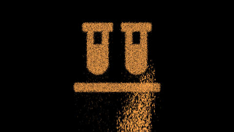 Symbol vials appears from crumbling sand. Then crumbles down. Alpha channel Premultiplied - Matted Animation