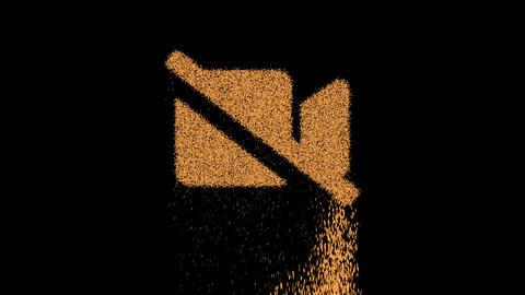 Symbol video slash appears from crumbling sand. Then crumbles down. Alpha channel Premultiplied - Animation
