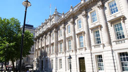 Panning government building on Parliament, Downing street in London Footage