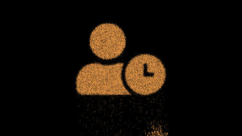 Symbol user clock appears from crumbling sand. Then crumbles down. Alpha channel Premultiplied - Animation