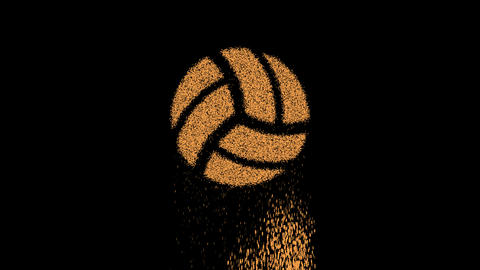 Symbol volleyball ball appears from crumbling sand. Then crumbles down. Alpha channel Premultiplied Animation