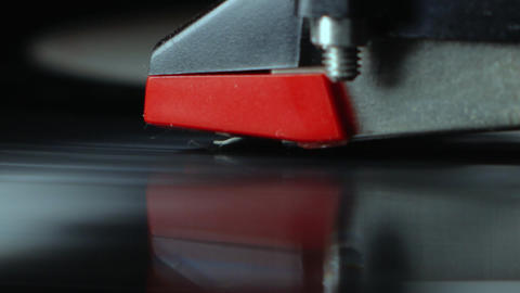 Tonearm needle closeup with spinning vinyl 3 Live Action