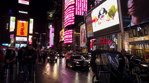 New York City, New York - 2019-05-08 - Times Square Night 3 - Pedal Taxi Footage