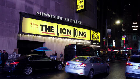 New York City, New York - 2019-05-08 - Broadway 3 Lion King Theater Marquee Footage