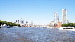 Pov moving on boat view on Blackfriars bridge Thames river cityscape in London Footage