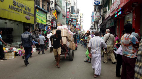Colombo, Sri Lanka - 2019-03-21 - Manual Pulled Hand Truck On Road Footage