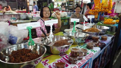 Lampang, Thailand - 2019-03-07 - Market Vendor Women Laugh Footage