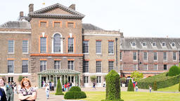London, UK Kensington Palace exterior architecture with entrance in summer Footage
