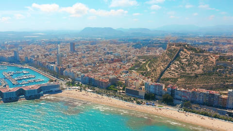 Alicante, Spain. Aerial view on the city against the sea with a view of the Footage