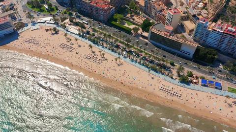 Aerial view of the Santa Barbara castle in Alicante, Spain Footage